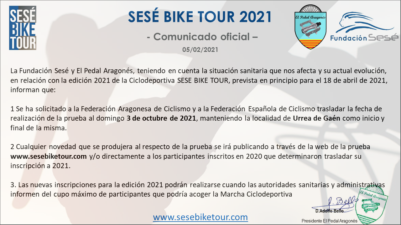 Comunicado Sesé Bike Tour 2021